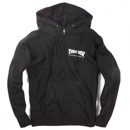 Thrasher Hood Zip Logo black