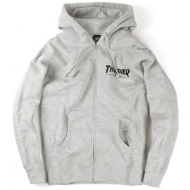 Thrasher Hood Zip Logo grey