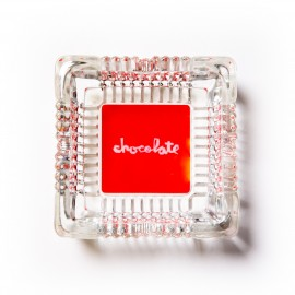Chocolate Red Square Ashtray clear