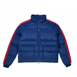 Polar Stripe Puffer jacket navy red